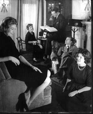 The Redgraves in the London flat, 1959